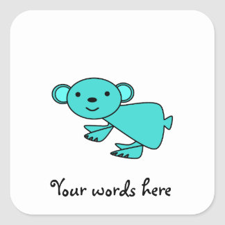 Turquoise koala square sticker