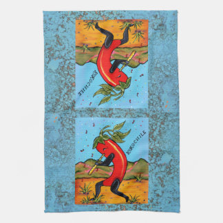 Turquoise Kokopelli Chili Chile Pepper Fun Towel