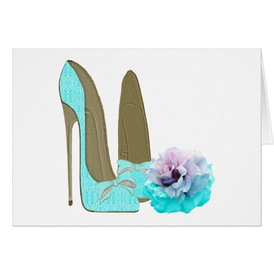 Turquoise Lace Stiletto Shoes and Rose Art Card