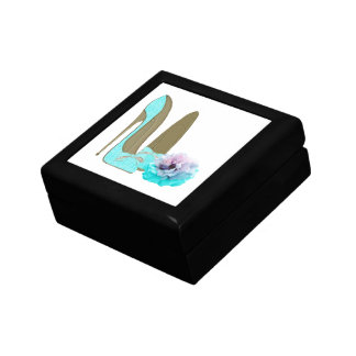 Turquoise Lace Stiletto Shoes and Rose Art Gift Box