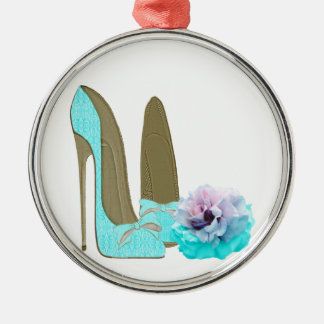 Turquoise Lace Stiletto Shoes and Rose Art Silver-Colored Round Decoration