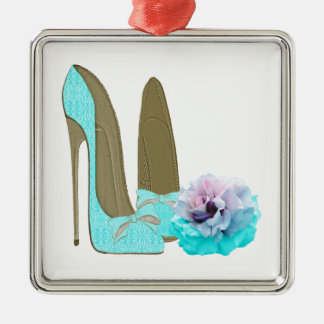 Turquoise Lace Stiletto Shoes and Rose Art Silver-Colored Square Decoration