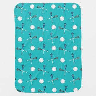 Turquoise lacrosse pattern baby blanket