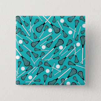 Turquoise lacrosse sticks pattern 15 cm square badge