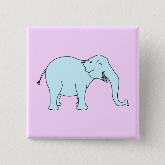 Turquoise Laughing Elephant. 15 Cm Square Badge