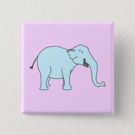 Turquoise Laughing Elephant. 15 Cm Square Badge