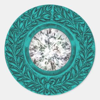 Turquoise Laurel Wreath and Diamond Envelope Seal Round Sticker