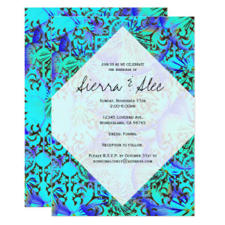 Turquoise & Lavender Abstract Pansies 13 Cm X 18 Cm Invitation Card