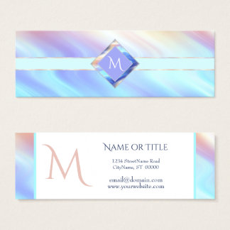 Turquoise Lavender Monogram Slim Mini Business Card