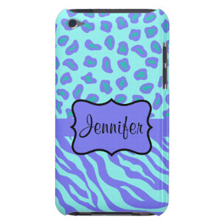 Turquoise & Lavender Zebra & Cheetah Customized Barely There iPod Cover