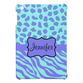 Turquoise & Lavender Zebra & Cheetah Customized Cover For The iPad Mini