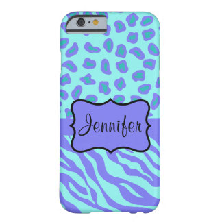 Turquoise Lavender Zebra Leopard Name Personalized Barely There iPhone 6 Case