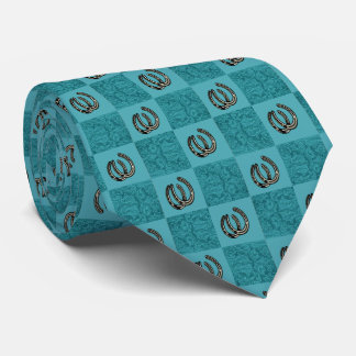 Turquoise Leather Print Blocks  With Horseshoes Tie