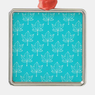 Turquoise Leaves Christmas Ornament