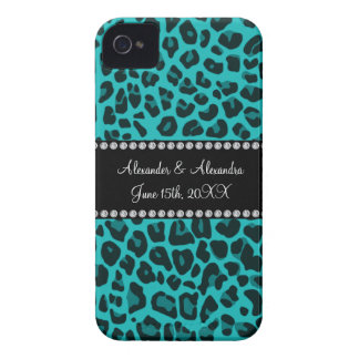 Turquoise leopard pattern wedding favors iPhone 4 Case-Mate case