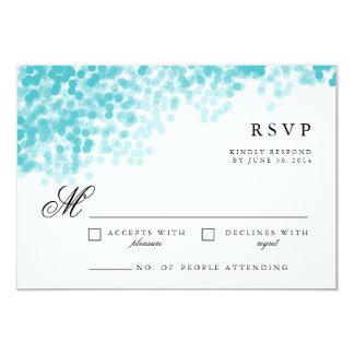 Turquoise Light Shower | Pretty RSVP Response Card 9 Cm X 13 Cm Invitation Card