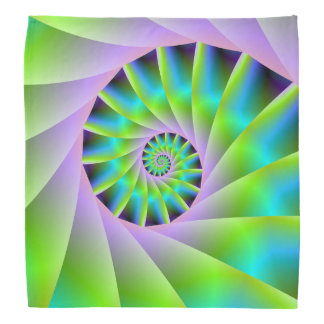Turquoise Lilac and Green Spiral Bandana