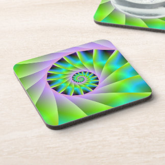 Turquoise Lilac and Green Spiral Coasters