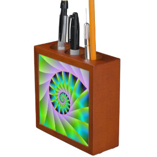 Turquoise Lilac and Green Spiral Desk Organizer