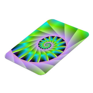 Turquoise Lilac and Green Spiral Photo Magnet