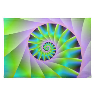 Turquoise Lilac and Green Spiral Placemats