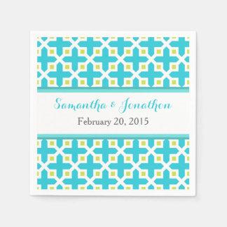 Turquoise & Lime Green Cross Pattern Wedding Paper Napkin