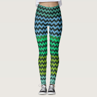 Turquoise Lime Mint Chevron Modern Leather Leggings