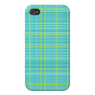 Turquoise/Lime Plaid Case iPhone 4 Cases