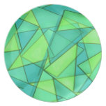 Turquoise & Lime Triangles Party Plates