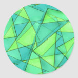 Turquoise & Lime Triangles Round Stickers