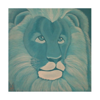 Turquoise Lion Wood Wall Panel
