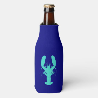 Turquoise Lobster On Navy Blue Coastal Decor Bottle Cooler