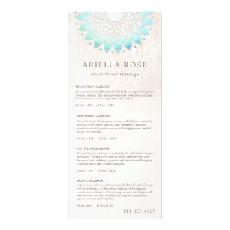 Turquoise Lotus Massage Therapist Price List Menu Full Colour Rack Card