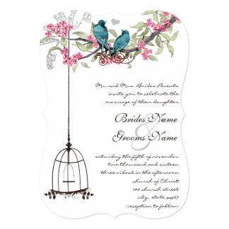 Turquoise Love Bird Pink Romantic Birdcage 13 Cm X 18 Cm Invitation Card