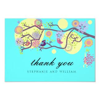 Turquoise Love Birds Wedding Thank You Card 9 Cm X 13 Cm Invitation Card