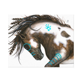 Turquoise Majestic Horse BiHrLe ArT Canvas Print