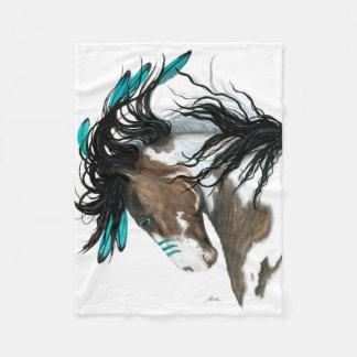 Turquoise Majestic Pinto Horse by Bihrle Fleece Blanket