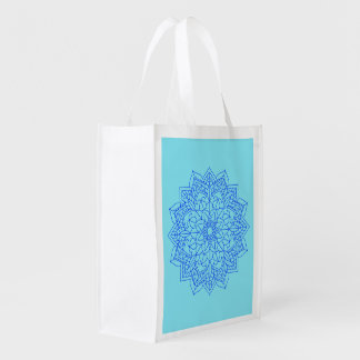 Turquoise Mandala Reusable Grocery Bag