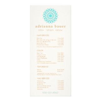 Turquoise Mandala Spa Salon Price List Menu Full Color Rack Card