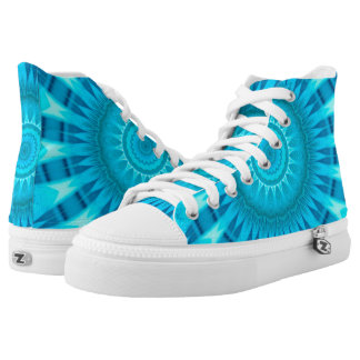 Turquoise Mandala Zipz High Top Shoes