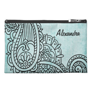 Turquoise Mehndi Motif Bagette Bag Travel Accessories Bags