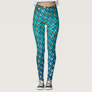 Turquoise Mermaid Scale Leggings