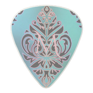 Turquoise Metal Look Tribal Monogram Acetal Guitar Pick