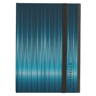 Turquoise Metallic Blue Carbon Fiber Texture Case For iPad Air