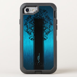 Turquoise Metallic Texture-Black Lace & Stripe OtterBox Defender iPhone 8/7 Case