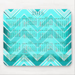 Turquoise, Mint and White Chevron Calendar 2016 Mouse Pad