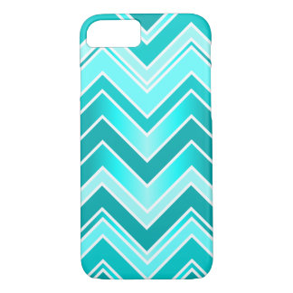 Turquoise, Mint and White Chevron pattern iPhone 8/7 Case
