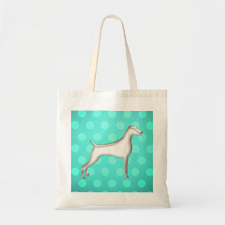 Turquoise-Mint Polk-A-Dot Weimaraner Tote