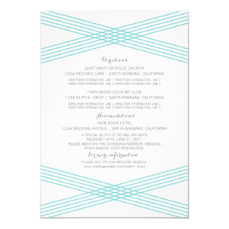 "Turquoise Modern Deco Information Card 5"" X 7"" Invitation Card"