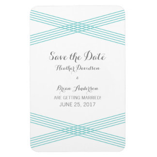Turquoise Modern Deco Save the Date Magnet Rectangular Photo Magnet